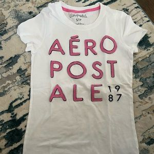 Aeropostale White and Pink Tee Size Small